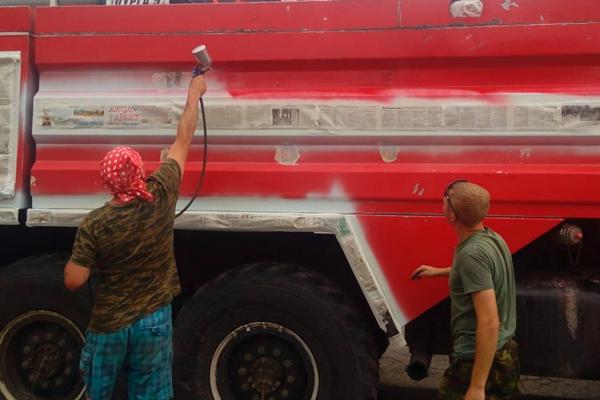 Покраска пожарной машины