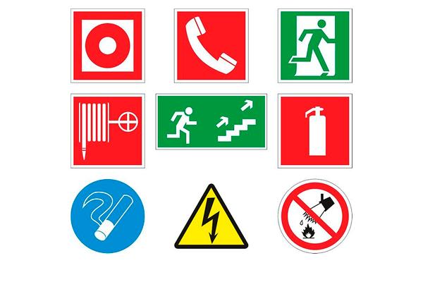 Возможные цвета пожарных знаков