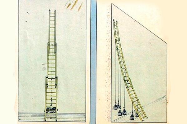 Процесс испытания трехколенной пожарной выдвижной лестницы