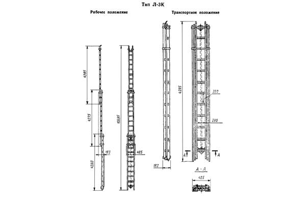Конструкция трехколенной пожарной выдвижной лестницы