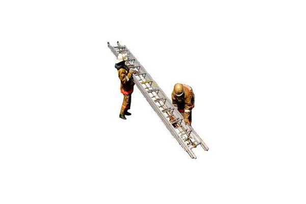 Раскладывание трехколенной пожарной лестницы