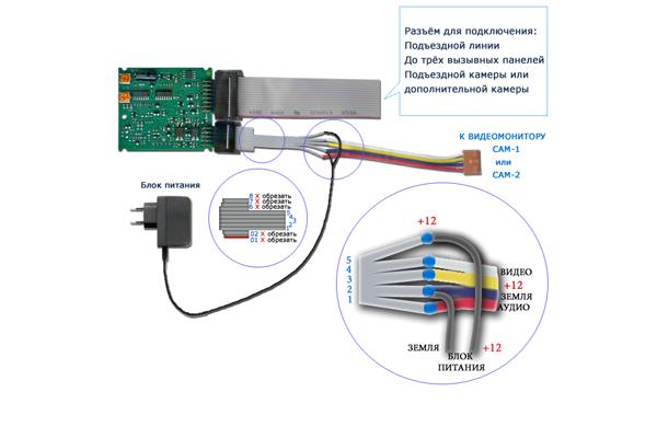 Электронная схема подключения координатного видеодомофона