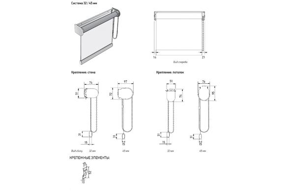 Конструкция рулонной шторы Louvolite