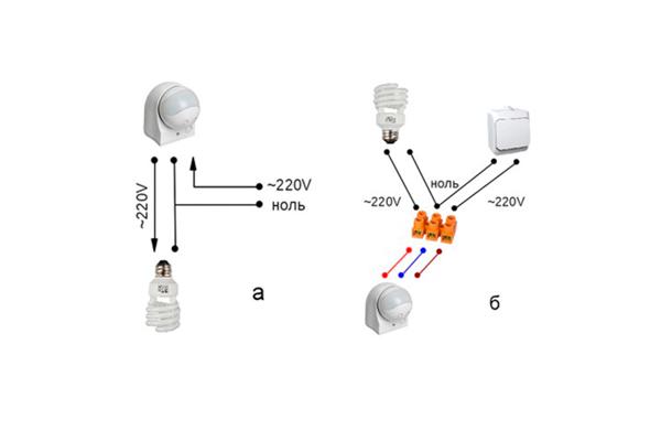 Схемы подключения датчика движения IEK ДД 010