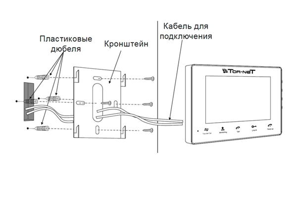 Схема установки видеодомофона Tornet TR-29M