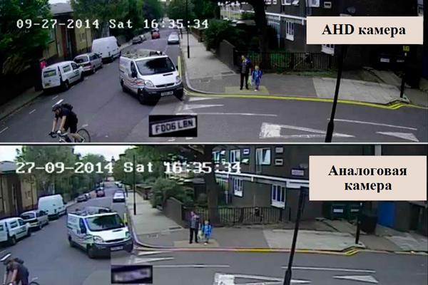 Сравнение картинки изображения AHD камеры видеонаблюдения и аналоговой