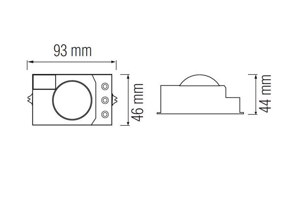 Чертежная схема микроволнового датчика движения Horoz Polo HL486