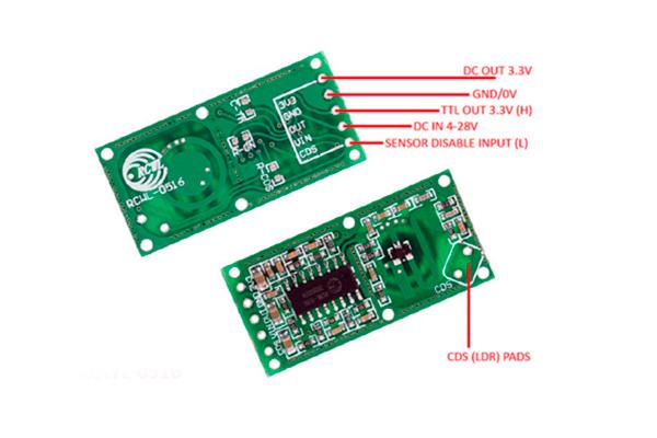 Конструкция электронной платы датчика движения микроволнового типа