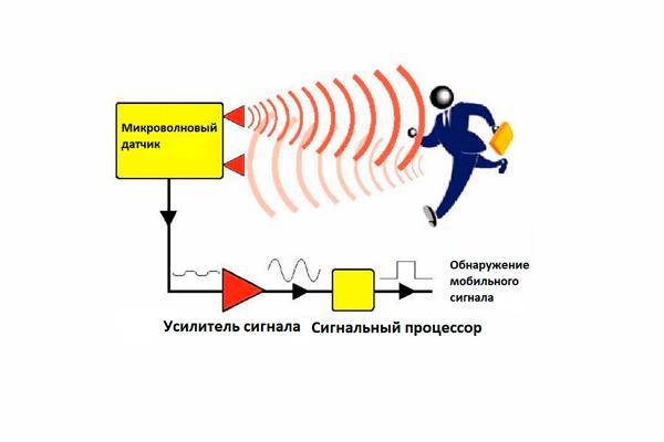Схема работы микроволнового датчика движения