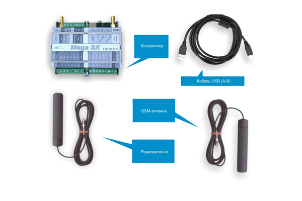 Комплектация GSM-сигнализации Mega SX-350