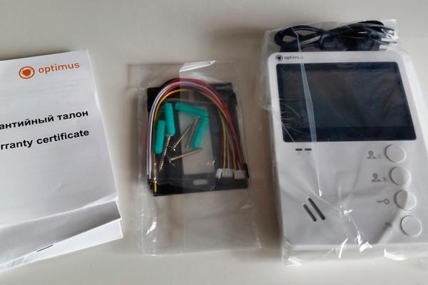Комплект поставки домофона с цветным экраном Optimus VM-E4