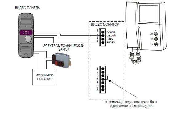 Схема подключения домофона с цветным экраном JSB-4HP-PAL4
