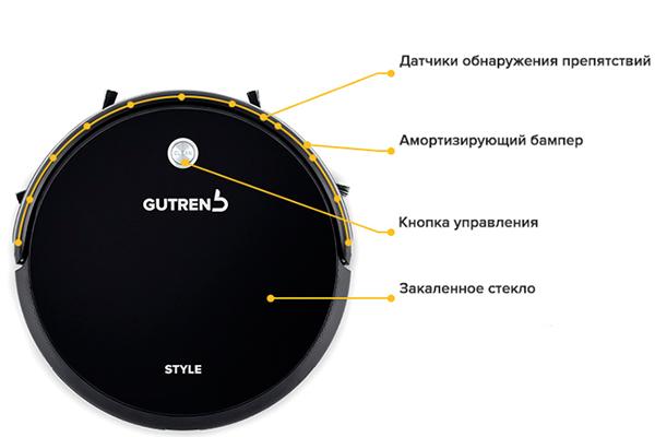 Конструкция роботизированного пылесоса Gutrend Style G220W
